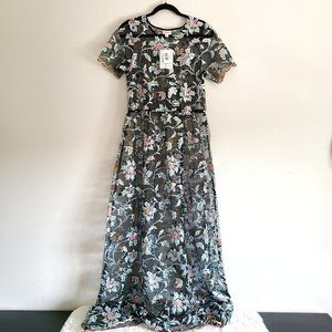 LuLaRoe Deanne II Sheer Maxi Floral Overlay Dress